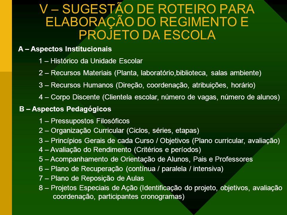 V – SUGESTÃO DE ROTEIRO PARA ELABORAÇÃO DO REGIMENTO E PROJETO DA ESCOLA