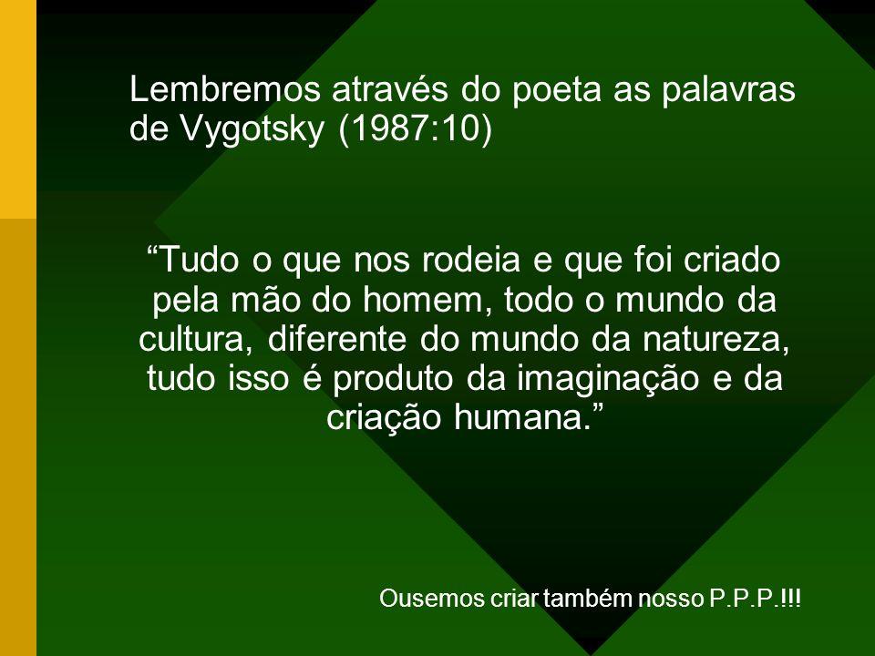 Lembremos através do poeta as palavras de Vygotsky (1987:10)
