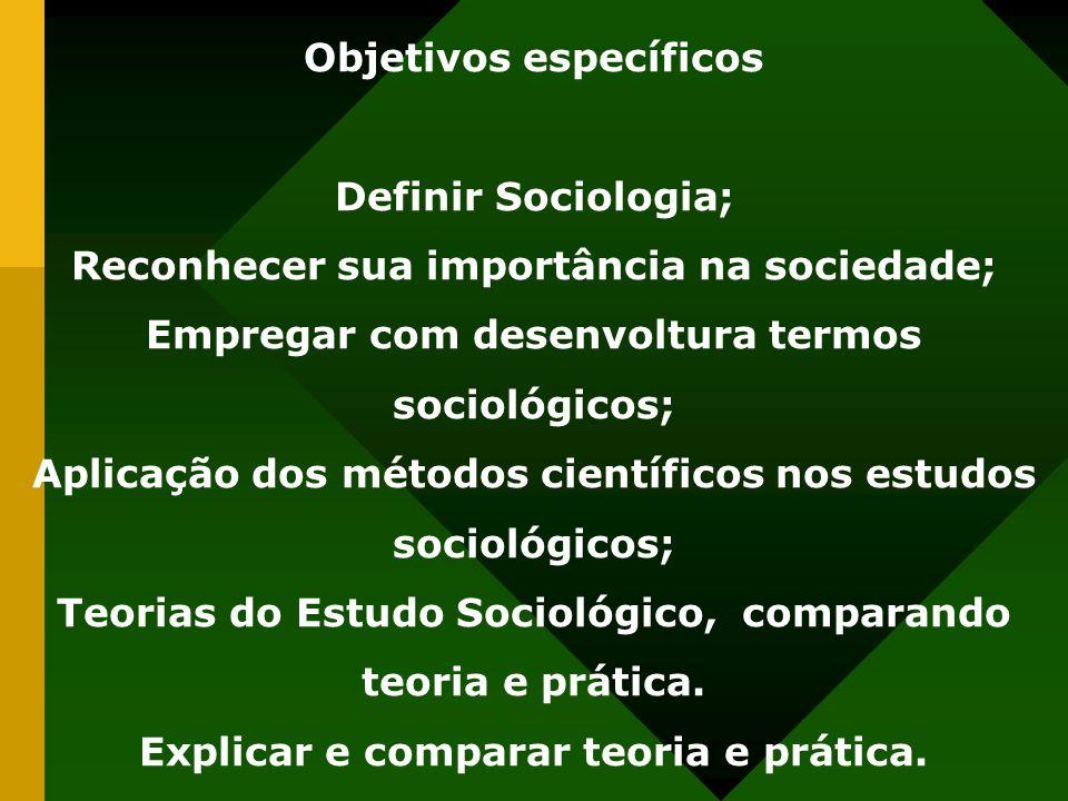 Objetivos específicos Explicar e comparar teoria e prática.