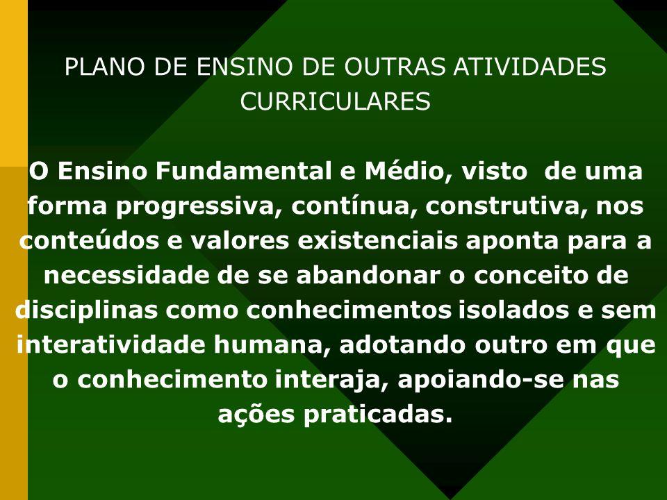 PLANO DE ENSINO DE OUTRAS ATIVIDADES CURRICULARES