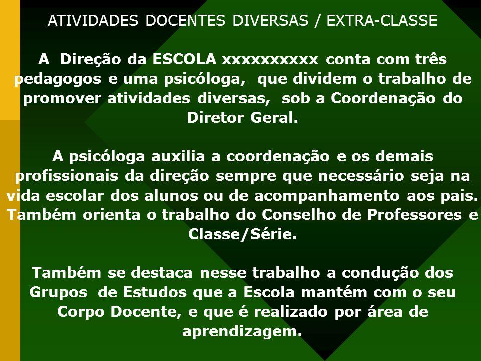 ATIVIDADES DOCENTES DIVERSAS / EXTRA-CLASSE