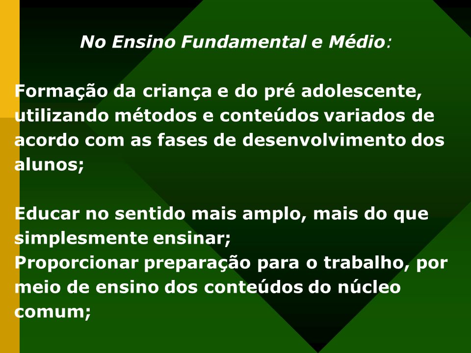 No Ensino Fundamental e Médio: