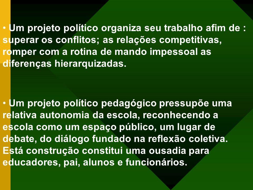 Um projeto político organiza seu trabalho afim de : superar os conflitos; as relações competitivas, romper com a rotina de mando impessoal as diferenças hierarquizadas.