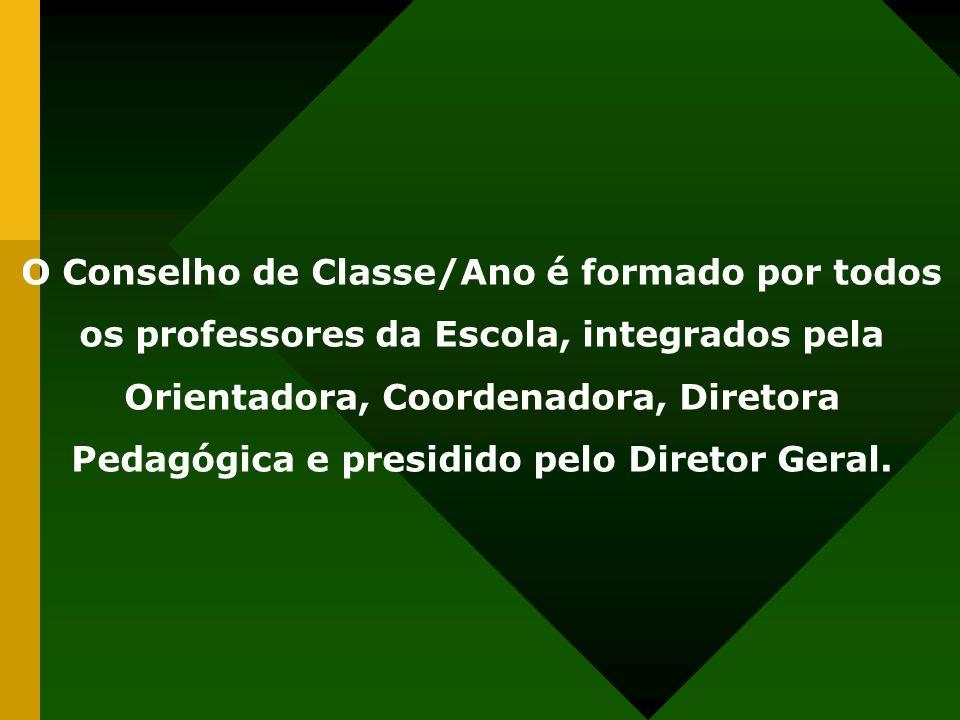O Conselho de Classe/Ano é formado por todos os professores da Escola, integrados pela Orientadora, Coordenadora, Diretora Pedagógica e presidido pelo Diretor Geral.