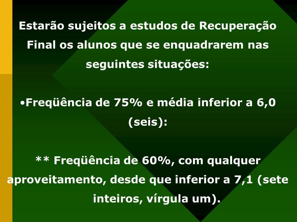 Freqüência de 75% e média inferior a 6,0 (seis):