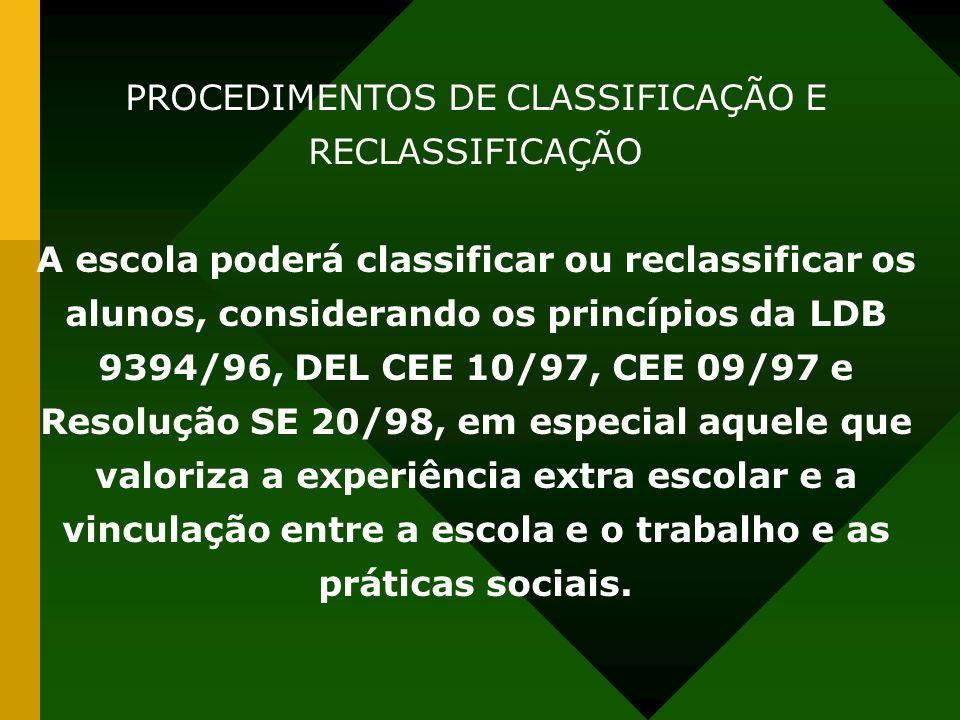 PROCEDIMENTOS DE CLASSIFICAÇÃO E RECLASSIFICAÇÃO
