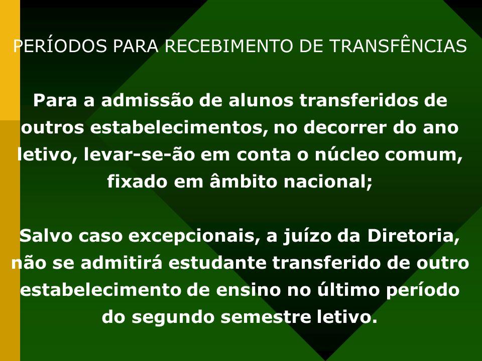 PERÍODOS PARA RECEBIMENTO DE TRANSFÊNCIAS