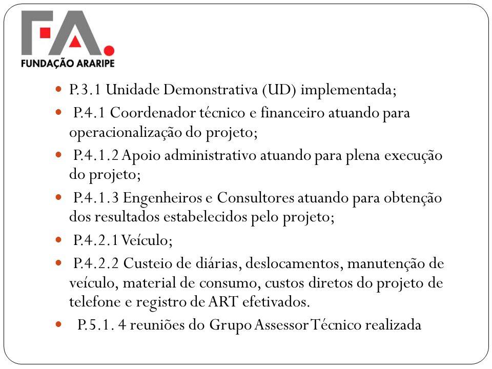P.3.1 Unidade Demonstrativa (UD) implementada;