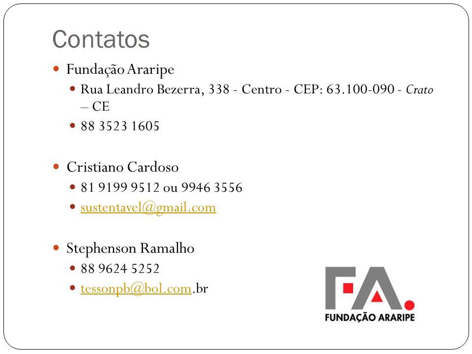 Contatos Fundação Araripe Cristiano Cardoso Stephenson Ramalho