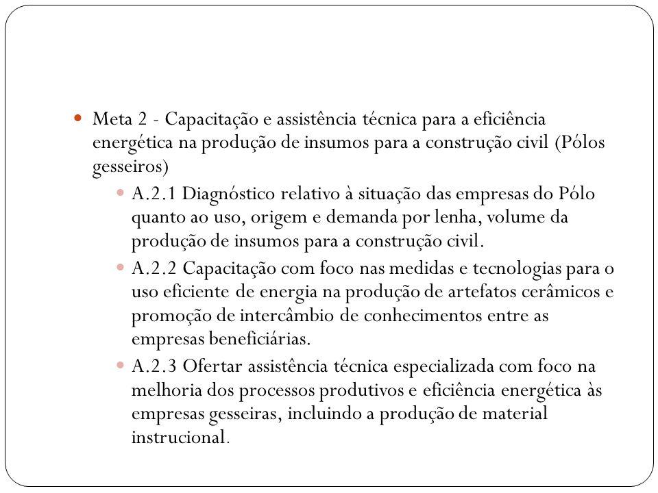 Meta 2 - Capacitação e assistência técnica para a eficiência energética na produção de insumos para a construção civil (Pólos gesseiros)