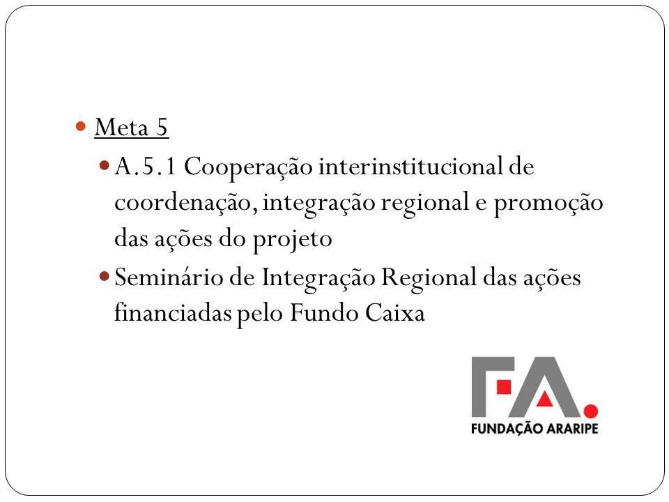 Meta 5 A.5.1 Cooperação interinstitucional de coordenação, integração regional e promoção das ações do projeto.
