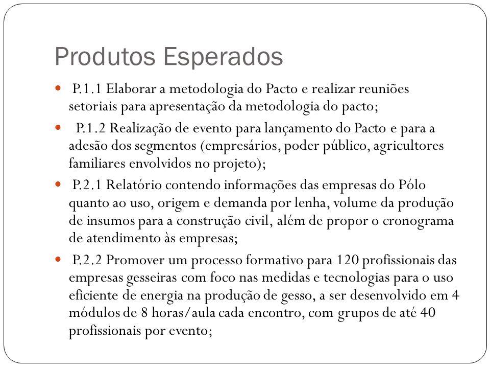 Produtos Esperados P.1.1 Elaborar a metodologia do Pacto e realizar reuniões setoriais para apresentação da metodologia do pacto;