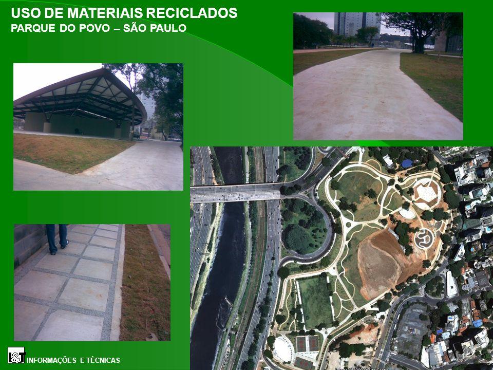 USO DE MATERIAIS RECICLADOS PARQUE DO POVO – SÃO PAULO