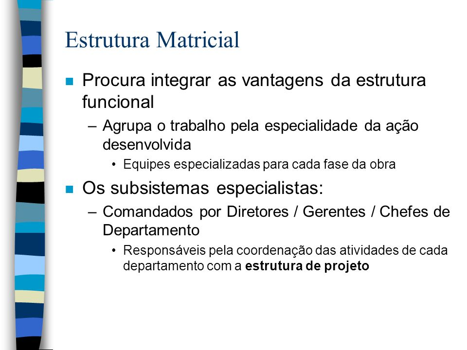 Estrutura Matricial Procura integrar as vantagens da estrutura funcional. Agrupa o trabalho pela especialidade da ação desenvolvida.