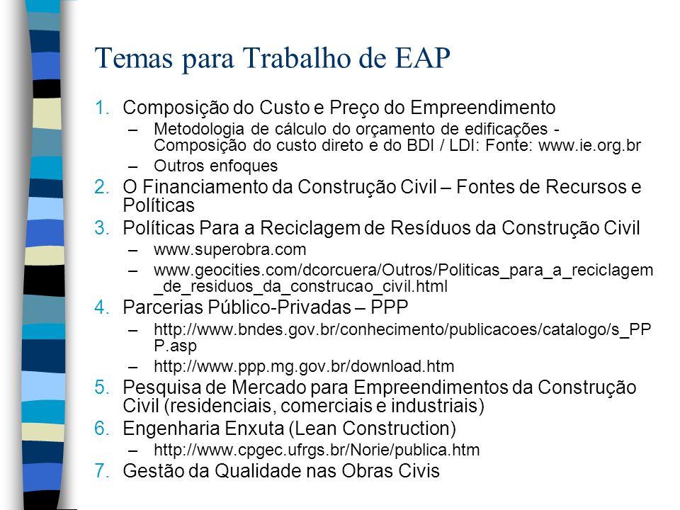 Temas para Trabalho de EAP