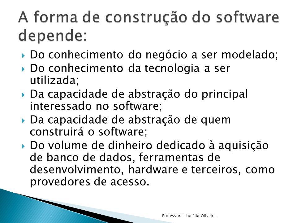 A forma de construção do software depende: