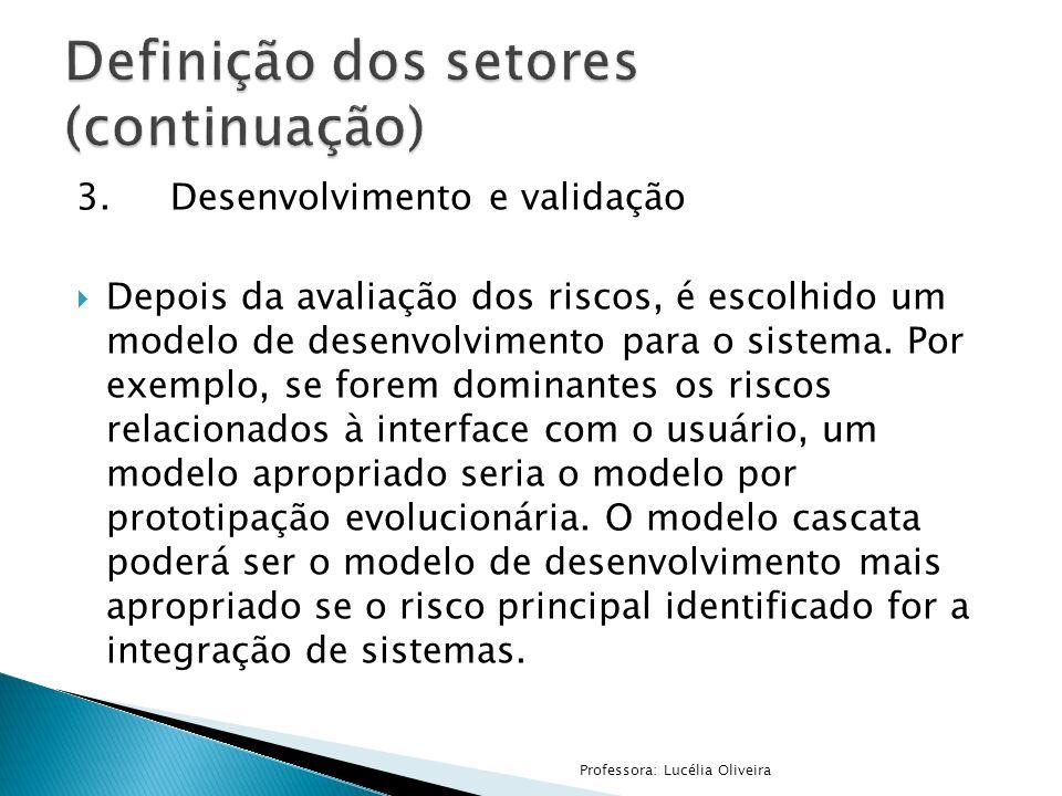 Definição dos setores (continuação)