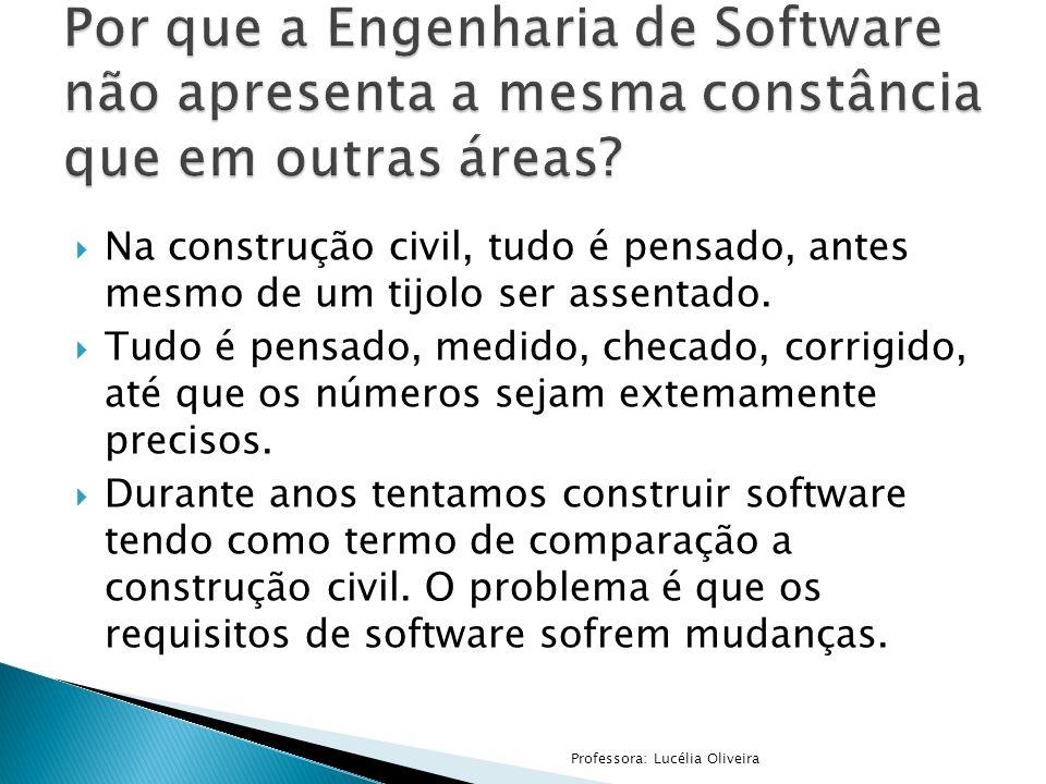 Por que a Engenharia de Software não apresenta a mesma constância que em outras áreas