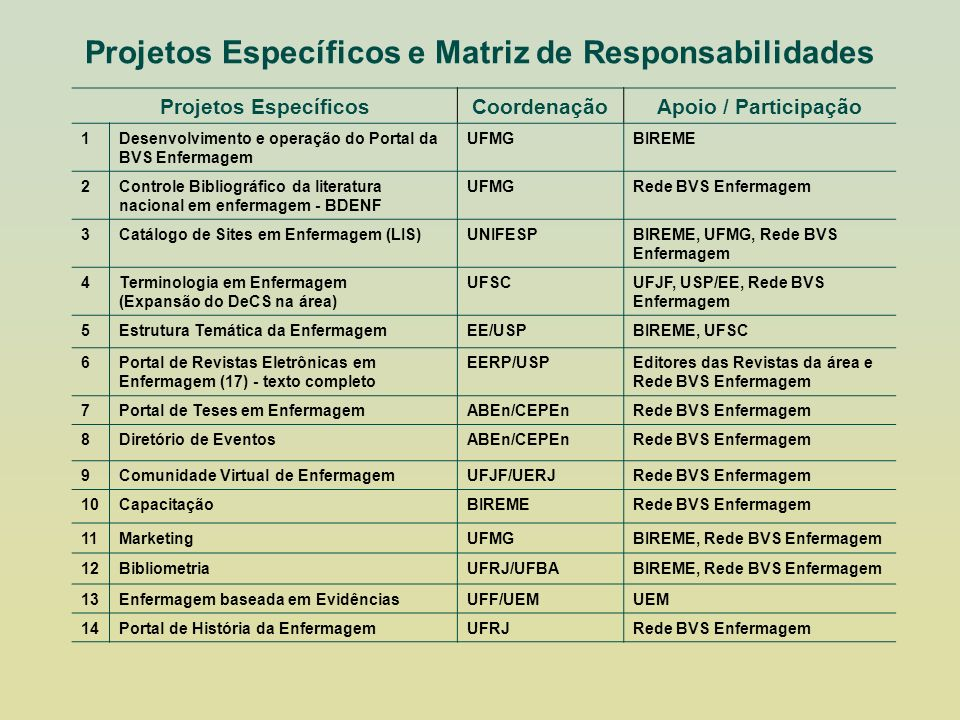 Projetos Específicos e Matriz de Responsabilidades