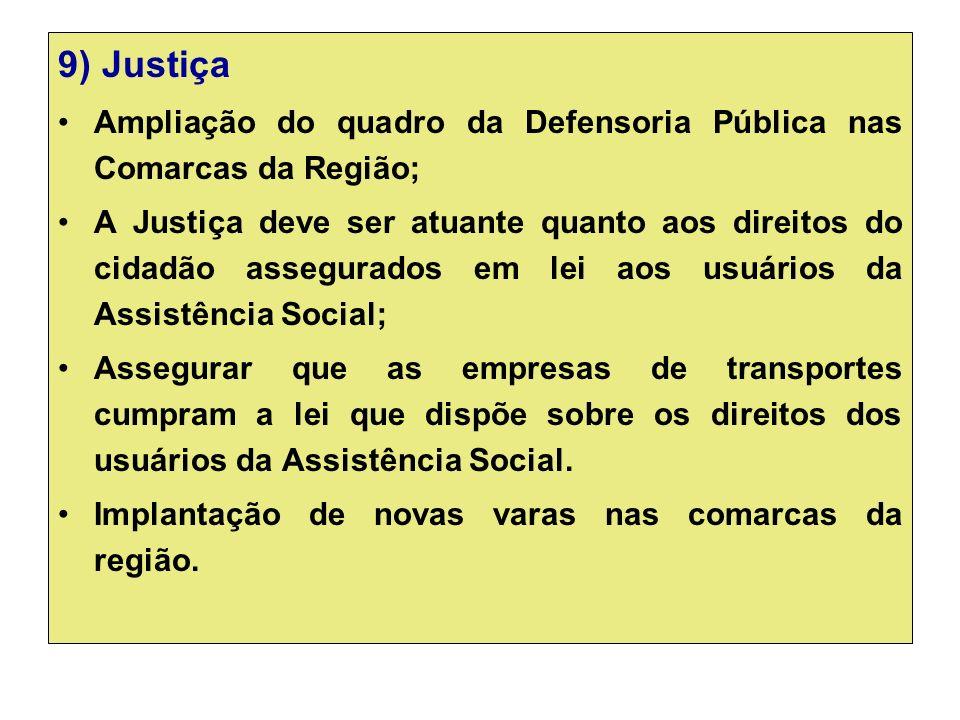9) Justiça Ampliação do quadro da Defensoria Pública nas Comarcas da Região;