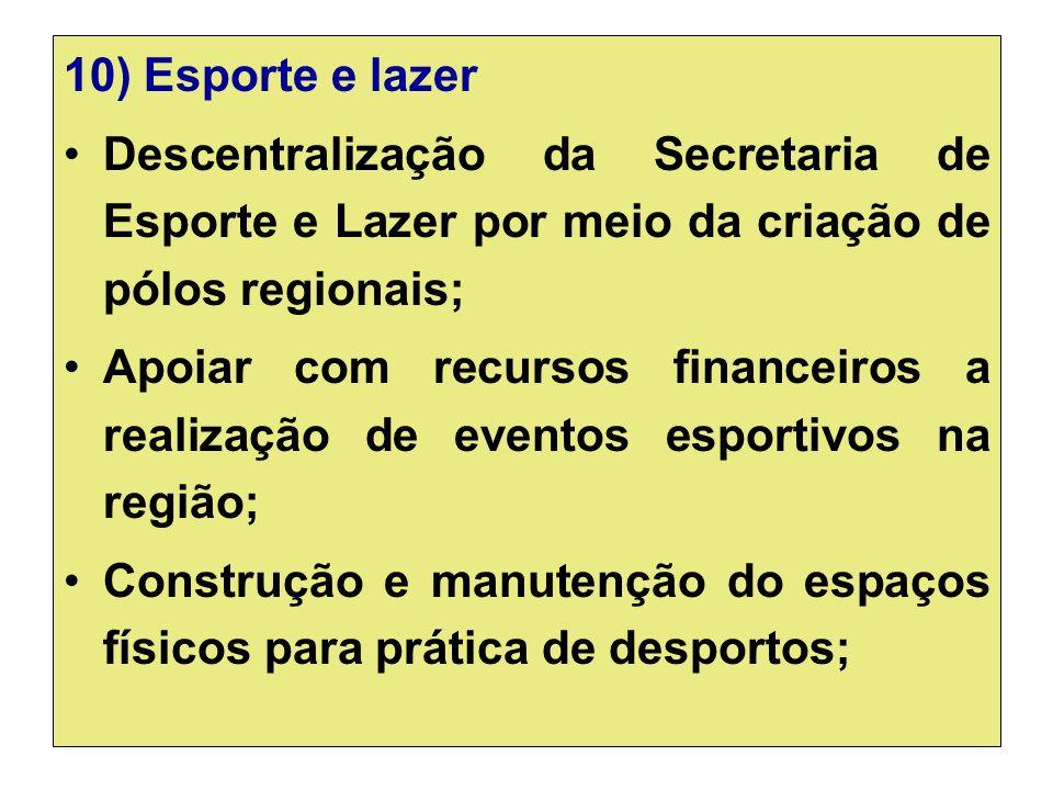 10) Esporte e lazer Descentralização da Secretaria de Esporte e Lazer por meio da criação de pólos regionais;