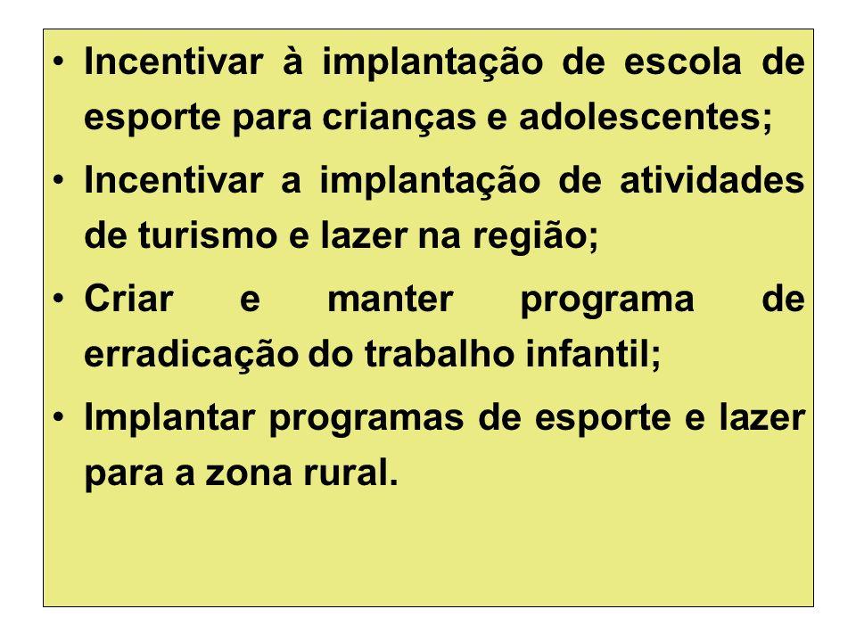 Incentivar à implantação de escola de esporte para crianças e adolescentes;