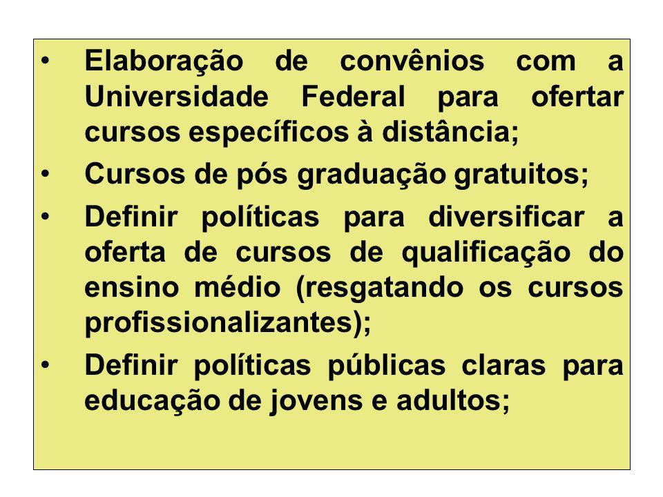 Elaboração de convênios com a Universidade Federal para ofertar cursos específicos à distância;