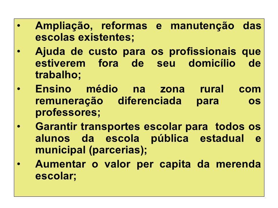 Ampliação, reformas e manutenção das escolas existentes;