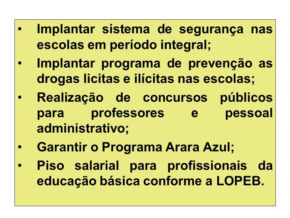 Implantar sistema de segurança nas escolas em período integral;