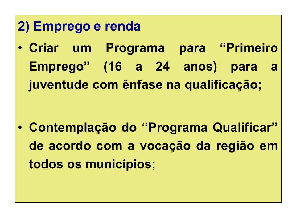 2) Emprego e renda Criar um Programa para Primeiro Emprego (16 a 24 anos) para a juventude com ênfase na qualificação;
