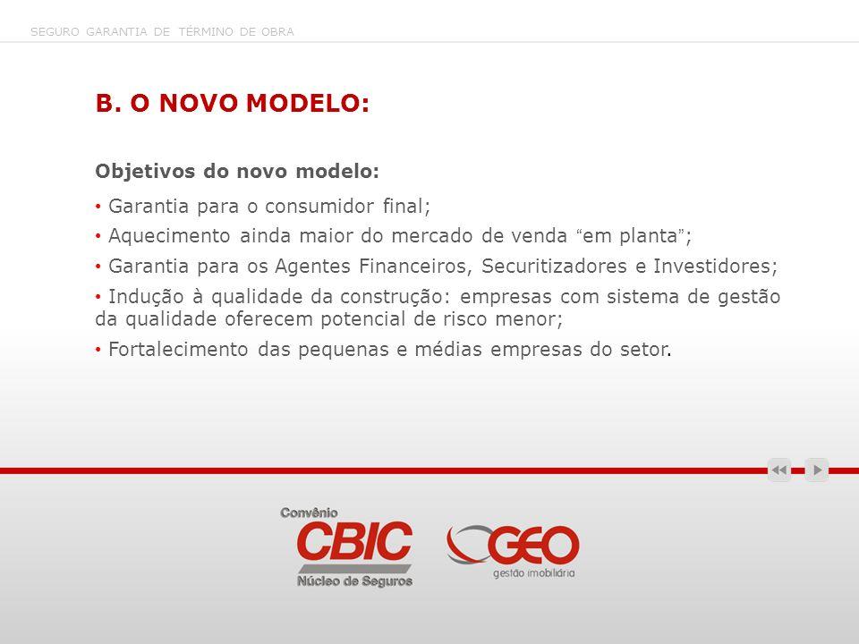 B. O NOVO MODELO: Objetivos do novo modelo: