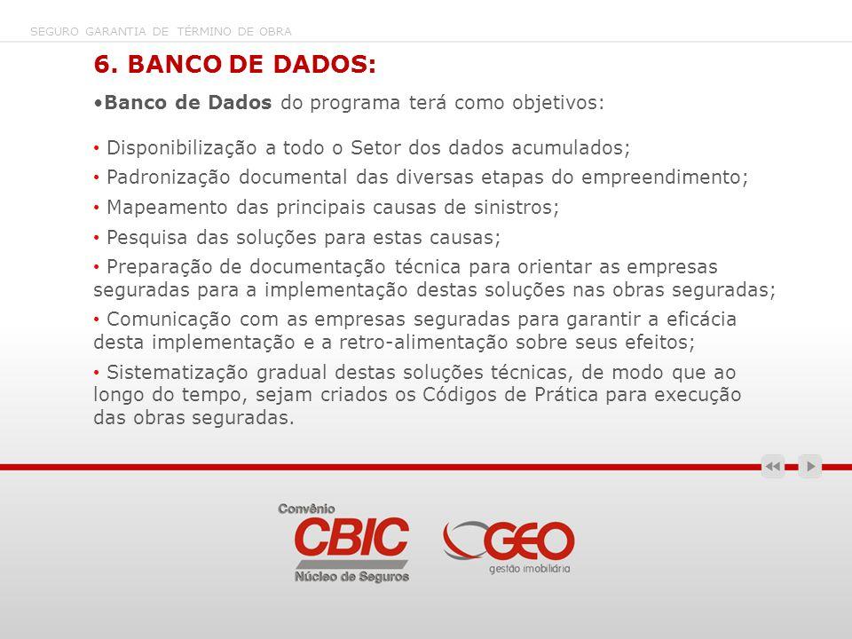 6. BANCO DE DADOS: Banco de Dados do programa terá como objetivos: