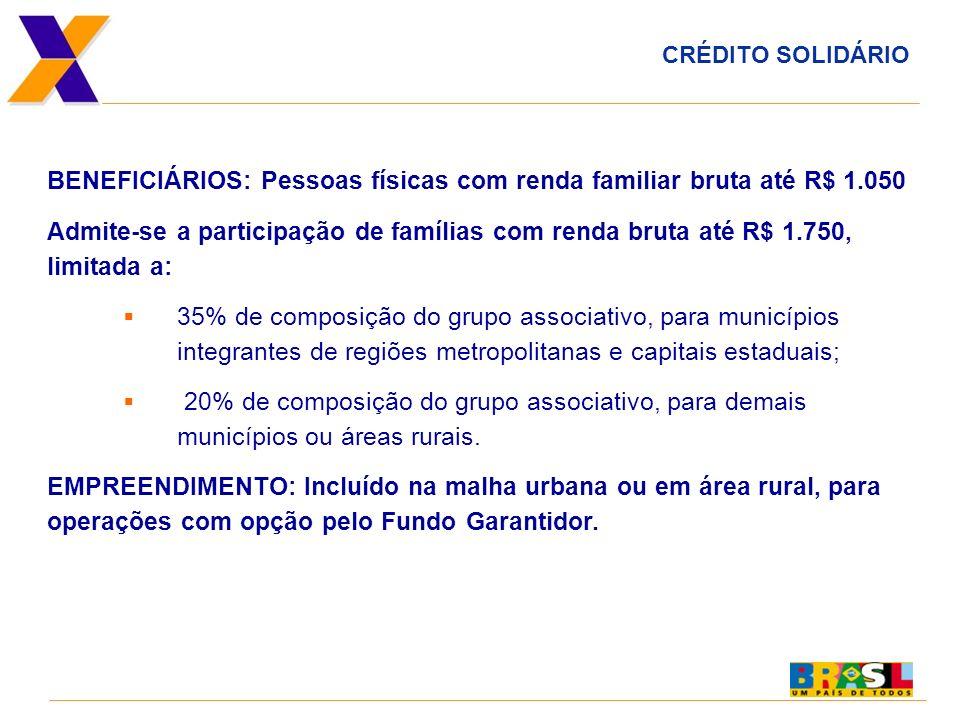BENEFICIÁRIOS: Pessoas físicas com renda familiar bruta até R$ 1.050