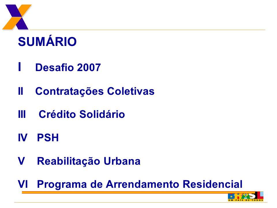 SUMÁRIO I Desafio 2007 II Contratações Coletivas III Crédito Solidário IV PSH V Reabilitação Urbana VI Programa de Arrendamento Residencial