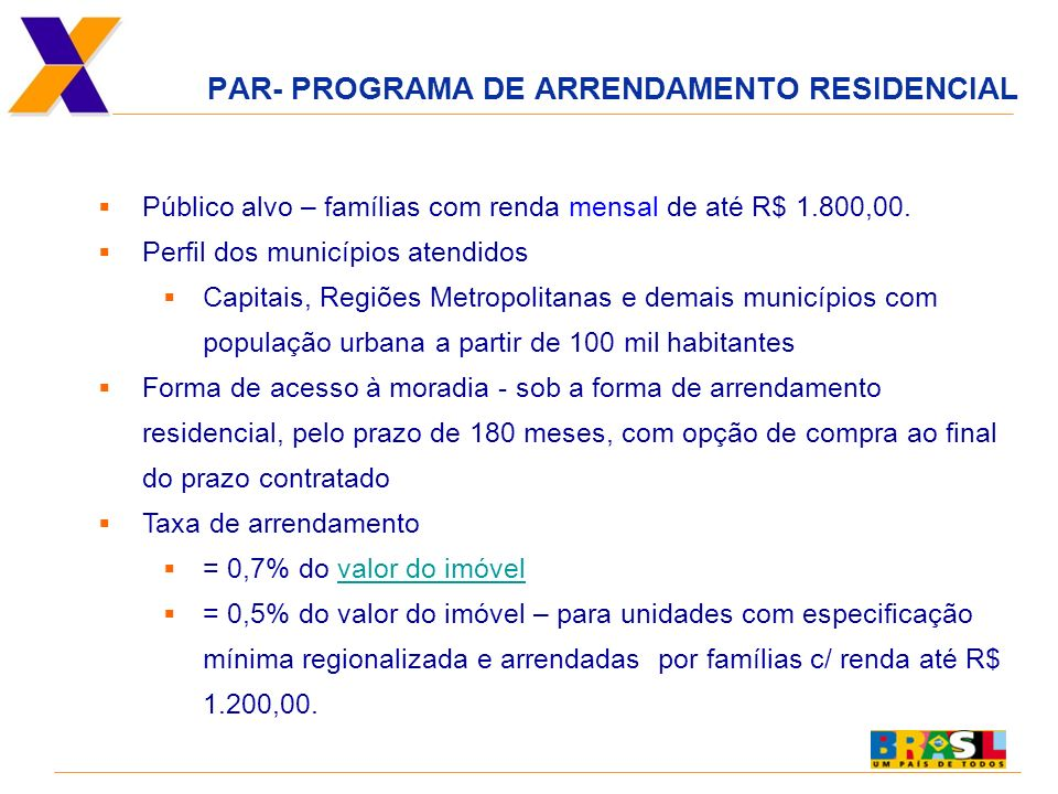 PAR- PROGRAMA DE ARRENDAMENTO RESIDENCIAL