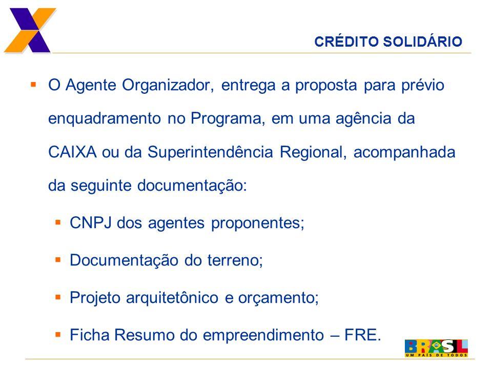 CNPJ dos agentes proponentes; Documentação do terreno;