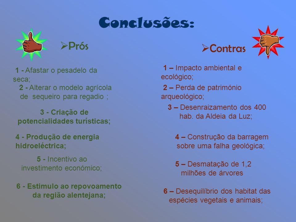 Conclusões: Prós Contras 1 – Impacto ambiental e ecológico;