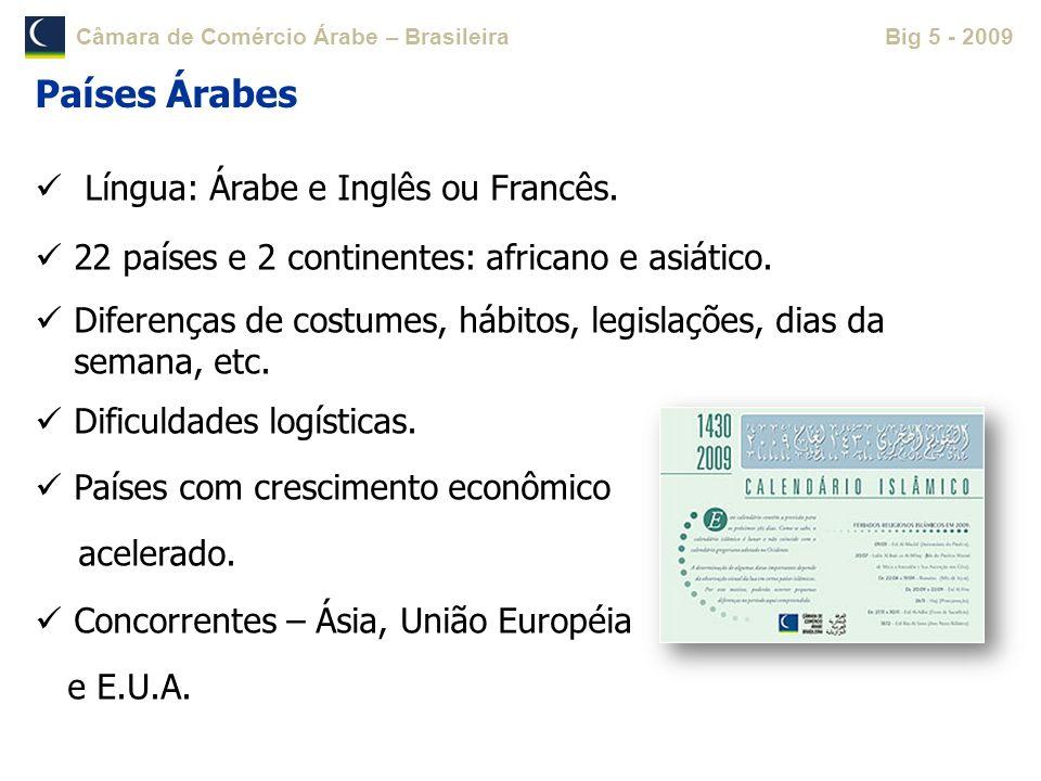 Países Árabes Língua: Árabe e Inglês ou Francês.