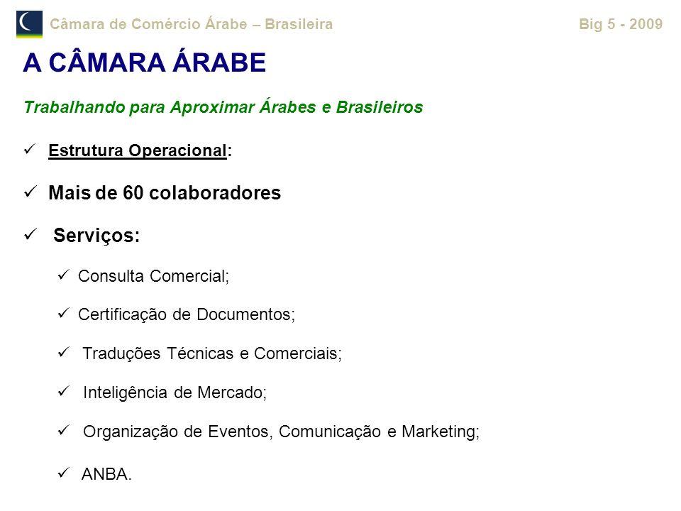 A CÂMARA ÁRABE Mais de 60 colaboradores Serviços:
