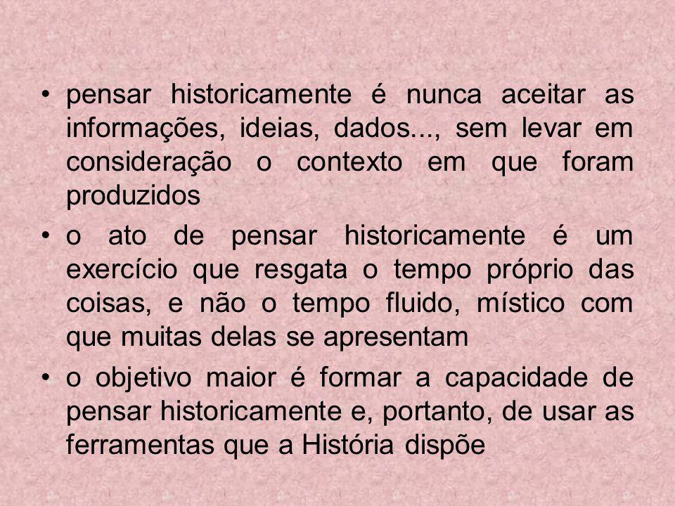 pensar historicamente é nunca aceitar as informações, ideias, dados
