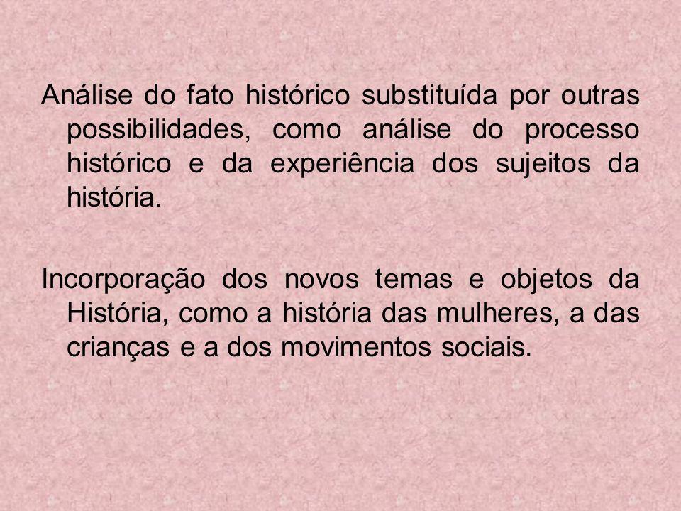 Análise do fato histórico substituída por outras possibilidades, como análise do processo histórico e da experiência dos sujeitos da história.