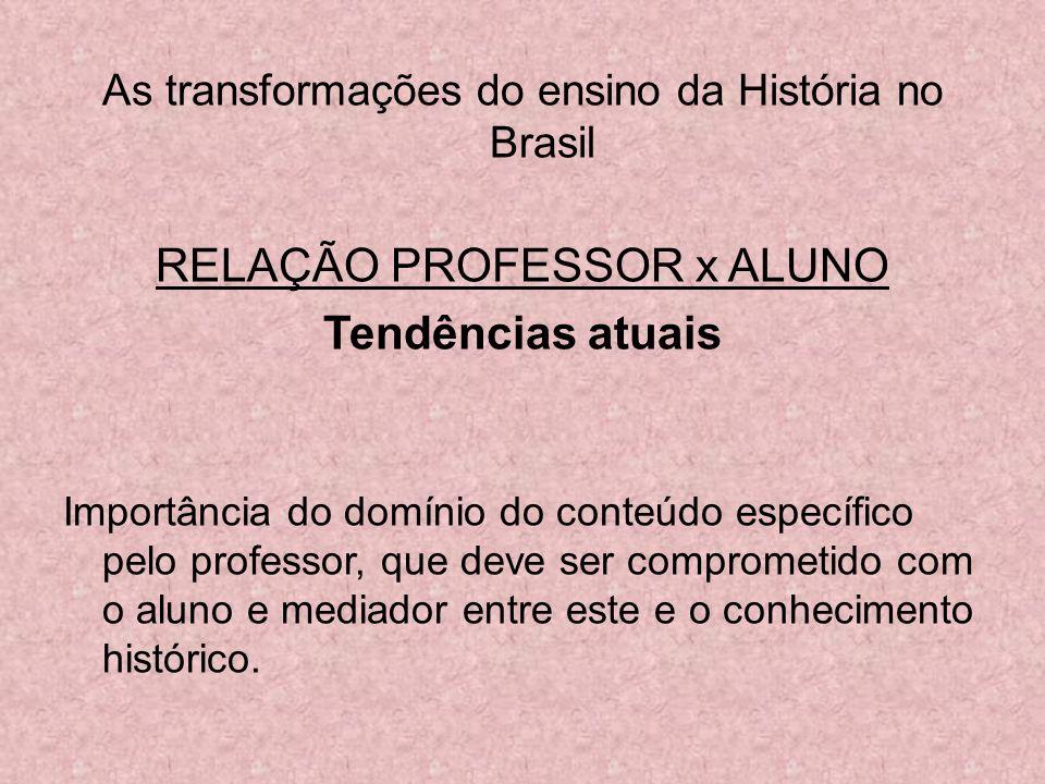 RELAÇÃO PROFESSOR x ALUNO Tendências atuais