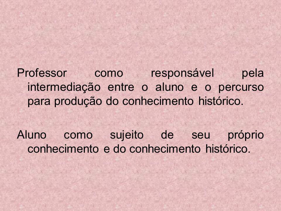 Professor como responsável pela intermediação entre o aluno e o percurso para produção do conhecimento histórico.