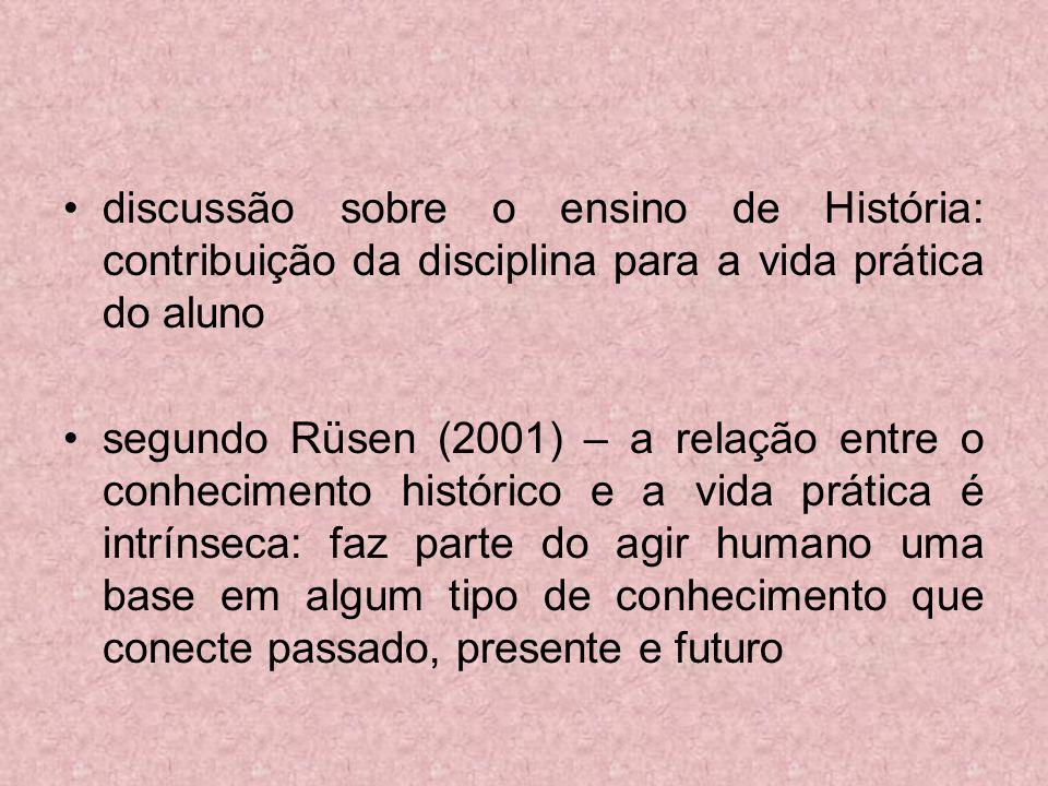 discussão sobre o ensino de História: contribuição da disciplina para a vida prática do aluno