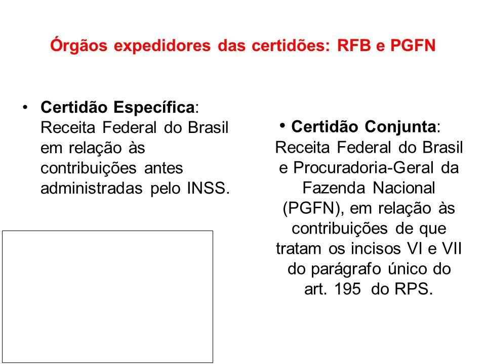 Órgãos expedidores das certidões: RFB e PGFN