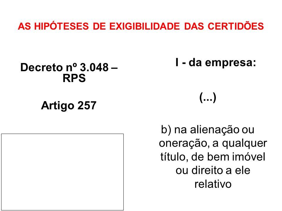 AS HIPÓTESES DE EXIGIBILIDADE DAS CERTIDÕES