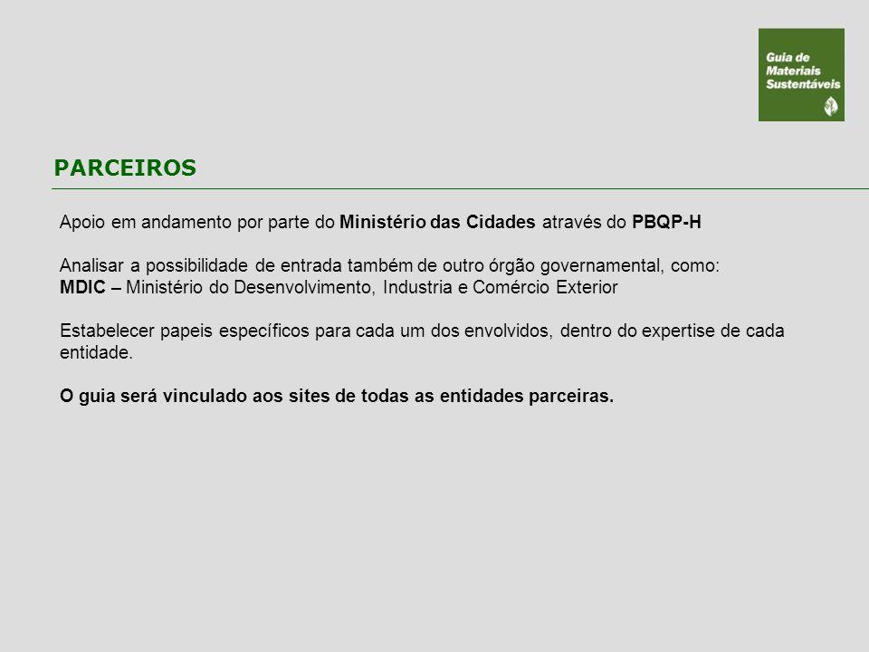PARCEIROS Apoio em andamento por parte do Ministério das Cidades através do PBQP-H.