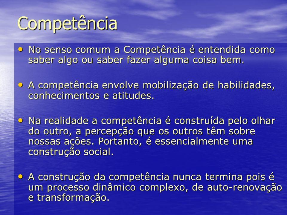 Competência No senso comum a Competência é entendida como saber algo ou saber fazer alguma coisa bem.