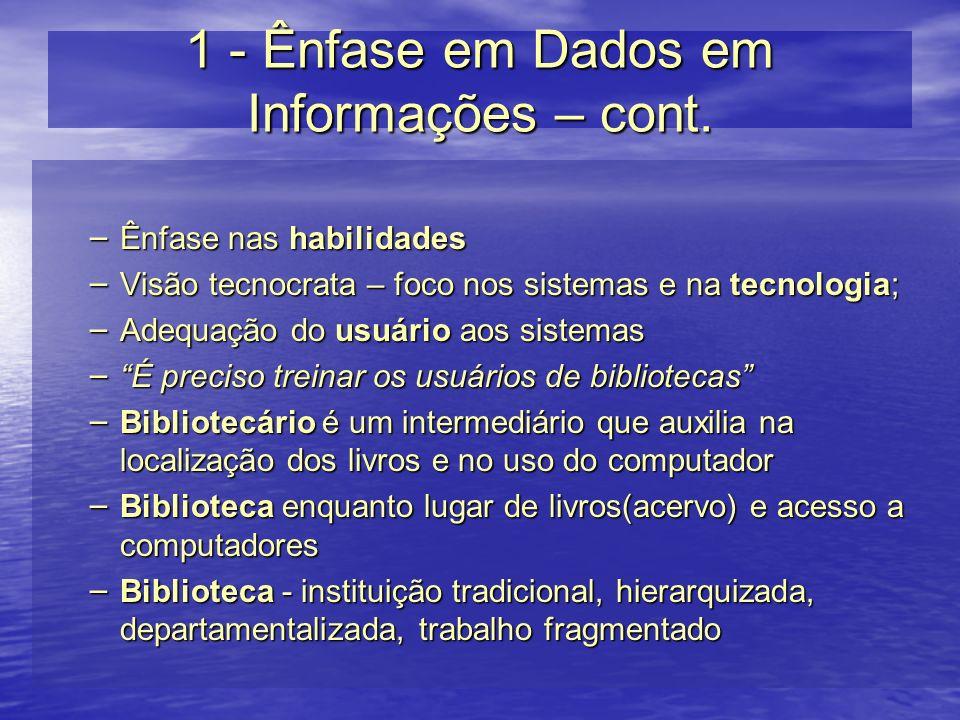 1 - Ênfase em Dados em Informações – cont.