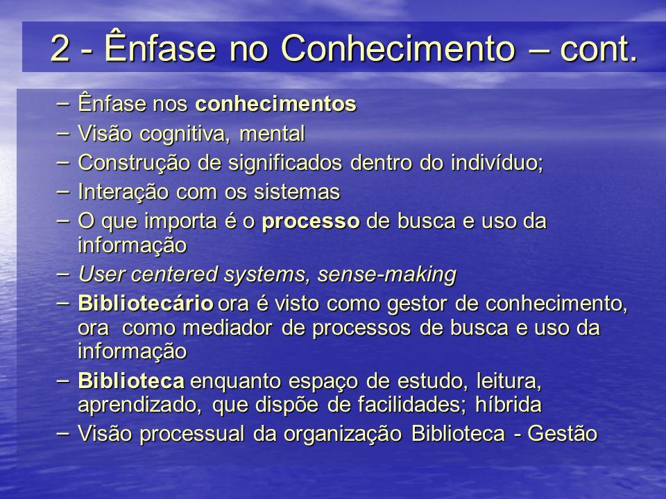 2 - Ênfase no Conhecimento – cont.